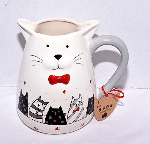 (New Whimiscal Kitty Cat Face with Cats & Red Hearts Water Pitcher/Juice)