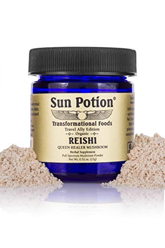 Reishi Mushroom Powder by Sun Potion - Adaptogenic Superfood, Certified Organic, Pure Ganoderma Lucidum Ling Zhi, Immune Booster, Vegan Herbal Supplement, and Adaptogen - 15g
