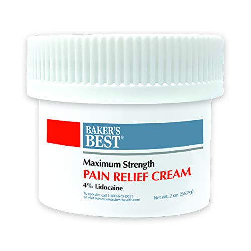 Baker's Best Pain Relief Cream | Maximum Strength 4% Lidocaine Cream for Knee Pain, Muscle Soreness, Stiffness, Sprains, and Strains | Contains Lidocaine and Menthol