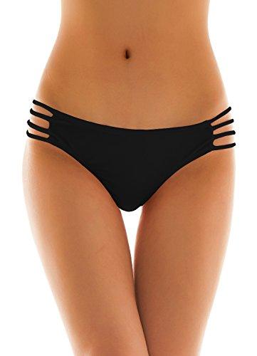(SHEKINI Womens Sexy Solid Strappy String Bikini Panties Hipster Thong Swimwear Bottom (X-Large/(US 16-18), Manhattan Black))