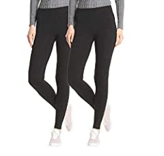 HUE Perfect Fit Every Day Leggings, Wide Comfortable Waistband,Ultra Soft Cotton, Mid-Rise, 2 Pack (Black, Small)