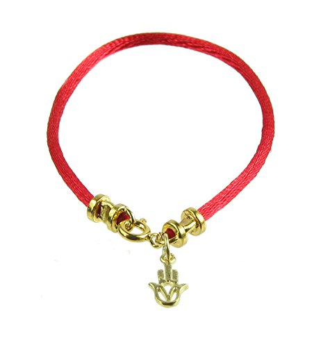 Kabbalah Red Bracelet and Gold Vermeil Hamsa Hand, 7.5 inches ()