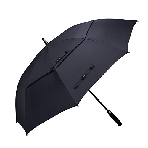 Vilapur 62 Inch Automatic Open Golf Umbrella (FT-03-001) Extra Large Oversize Double Canopy Vented Windproof Waterproof Stick Umbrellas (Black)