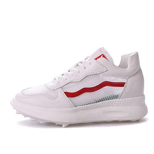 Zapatos Mujer Luz Nuevo QQWWEERRTT Zapatos Moda Deportes Casual Mujer Transpirable Corrientes blanco Universal wn00Pzaqx