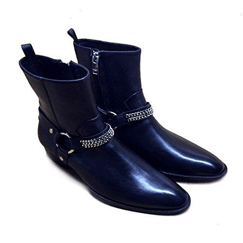 Jinfu Para Hombre Con Cremallera De Cuero Hebillas Botines Chelsea Con Punta De Invierno Caballero Zapatos Al Aire Libre (us 10)