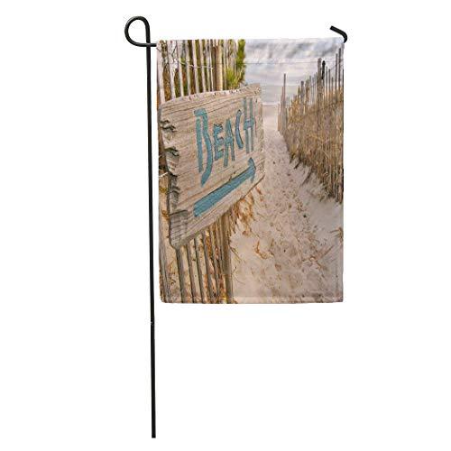 (zhurunshangmaoGYS Garden Flag Vacation Beach Access Sign Shore Path Sand Dunes Scene Summer Home Yard House Decor Barnner Outdoor Stand 12x18 Inches Flag)