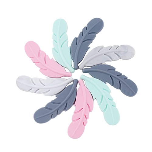 Baby Love Home Silicone Teether 10pcs Mix Color Nursing Accessories DIY Necklace Baby Teething Gift BPA Free Silicone Feather Beads