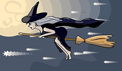 Quality Prints - Laminated 41x24 Vibrant Durable Photo Poster - Broom Cartoon Cute Fairy Fly Girl Halloween Hat Magic Moon More Character Canidates Night Print Sky Tale Witch Wizard Woman Young ()