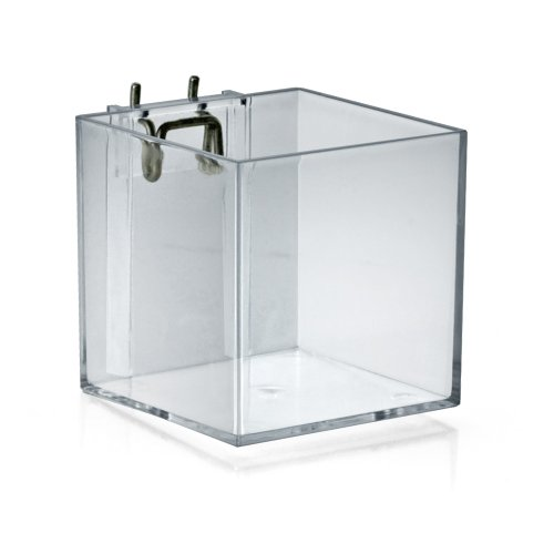 Azar Displays 256105  4-Inch Acrylic Cube Bin for Pegboard or Slatwall, Pack of 4