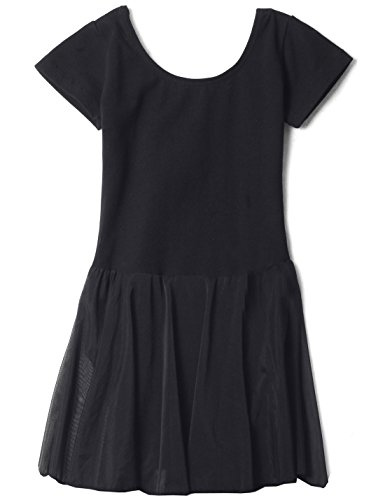 Apexsolaire Dancewear for Girls Short Sleeve by (Black, Age 8-10)