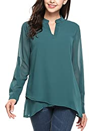 Meaneor Women Notch Neck Long Sleeve Solid Casual Double Layers Chiffon Blouse