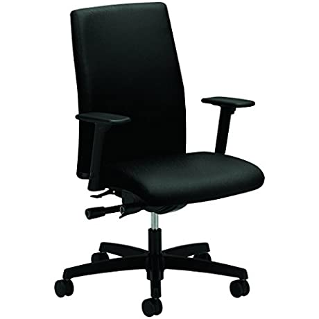 HON Ignition Series Mid Back Work Chair Upholstered Computer Chair For Office Desk Black HIWM3