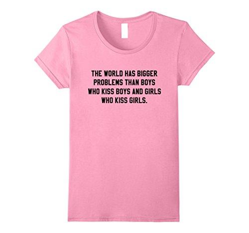 Womens The World Has Bigger Problems Quote T-Shirt Medium Pink (Pink T-shirt Problem Womens)