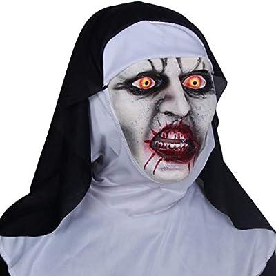 HZPXSB Máscara de Horror de Disfraces de Monja de Halloween, con ...
