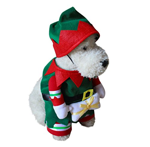 [Winter Christmas Green Elf Pet Dog Dressing Up Suit with Hat Party Costume (Elf, M)] (Business Suit Dog Costume)