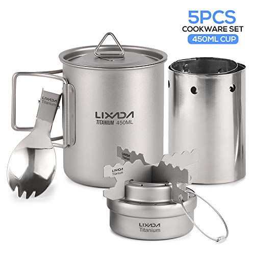 Lixada Camping Cookware Set,5PCS Lightweight Titanium Set 450ml Pot Alcohol Stove Cross Stand Rack with Foldable Spork and Windscreen