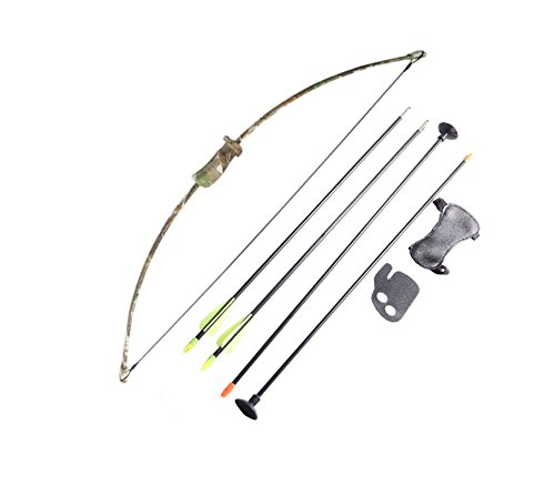FlyArchery Camo Recurve Bow Set Bow Arrow Kids Bow Longbow Children Junior Gift Toy Outdoor Game 4 Arrows Finger Arm Guard Longbow Bow