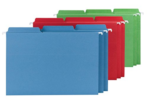 Smead FasTab Hanging File Folder, 1/3-Cut Built-In Tab, Legal Size, Assorted Colors, 18 Per Box (Attached Tab)