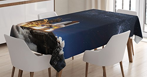Ambesonne Outer Space Decor Tablecloth, Space Shuttle Taking Off on a Mission Star Field Scientific Astrophotography, Dining Room Kitchen Rectangular Table Cover, 52 X 70 inches ()