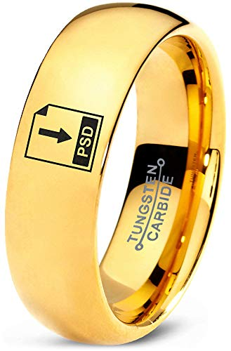 (Zealot Jewelry Tungsten Photoshop PSD File Band Ring 7mm Men Women Comfort Fit 18k Yellow Gold Dome Polished Size 11)