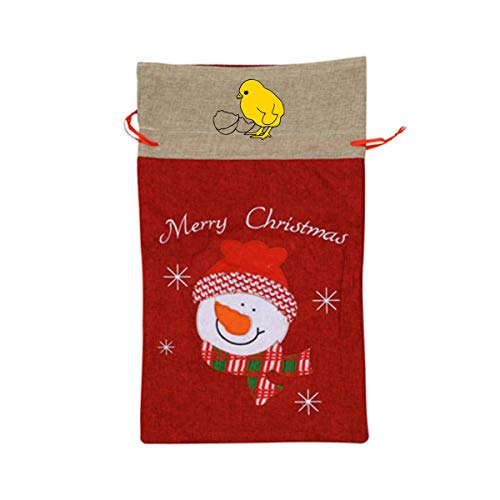 VAbBUQBWUQ Baby Chicken Santa Clause Drawstring Candy Goody Toy Gift Stocking Bag Holiday Wrapping Party Favors Presents Decorations ()