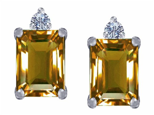 Star K 8x6mm Emerald Octagon Cut Simulated Imperial Yellow Topaz Earrings Studs