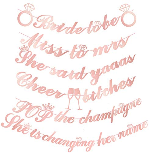 - BRIDE TO BE Banners sign | Pack of Unique 6 Banners - 'Bride to be' - 'Miss to Mrs' - 'She said Yaas' - 'Cheer Bitches' - 'Pop the Champagne' - 'She is changing her name' | pre-stunged | Pink Bachelorette Party Decorations Kit| Bachelorette Banner Rose Gold Glitter Bridal Shower Engagement Party Decorations