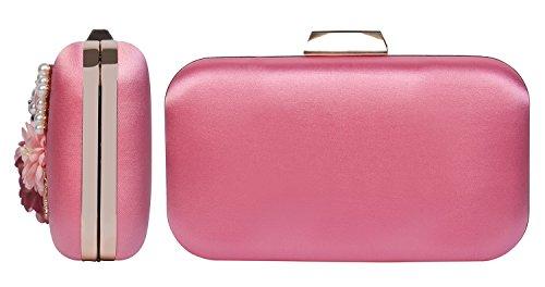 Dark Purse Clutch amp;X Z for Wedding Bag Women Pink Elegant Flower Evening Party Handbags ngn71t8x