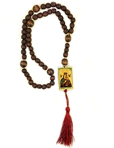 Byzantine Knot - Catholic Wooden Rosary Prayer Beads With Our Lady of Perpetual Help and Christ the Teacher Byzantine Icon 16 Inch