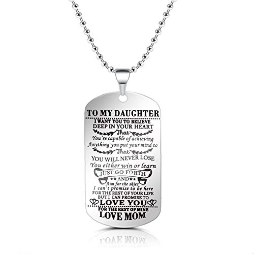 SUMMER LOVE to My Daughter from Mom I Want You to Believe Love Mom Dog Tag Military Air Force Navy Coast Guard Necklace Ball Chain Gift for Best Daughter Birthday and Graduation Stainless Steel