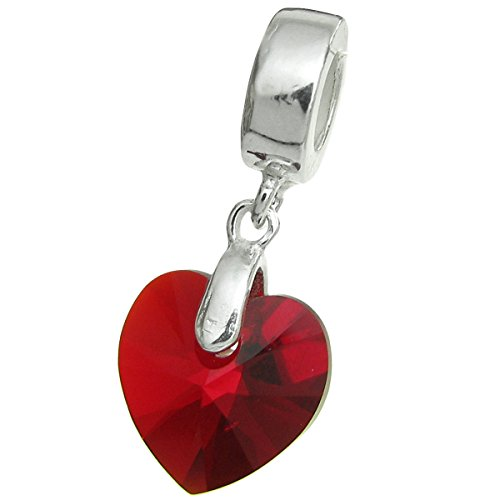 925 Sterling Silver Birthday July Red Heart Dangle For European Charm Bracelets using Swarovski Elements Crystal July Birthstone Heart Charm