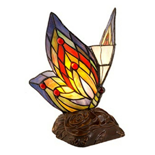 Warehouse of Tiffany s TN09218 D213 Tiffany Style Yellow Butterfly Accent Lamp, 5 x 5 x 10 , Blue