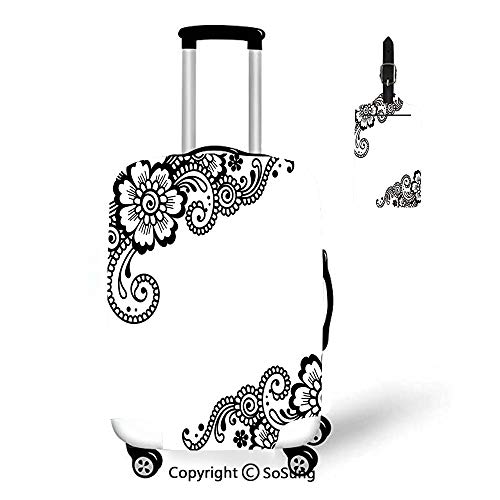 Henna 3D Printed Luggage Cover & Luggage Tag,Fit for 18-22