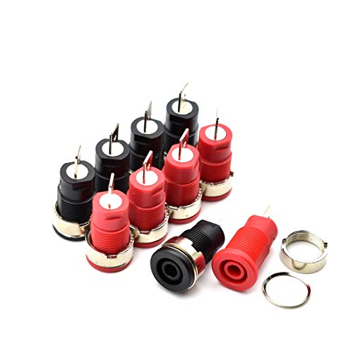 10Pcs 4mm Banana Jack Female Panel Mount Banana Socket Binding Post Adapter for 4mm Banana Plug Connectors