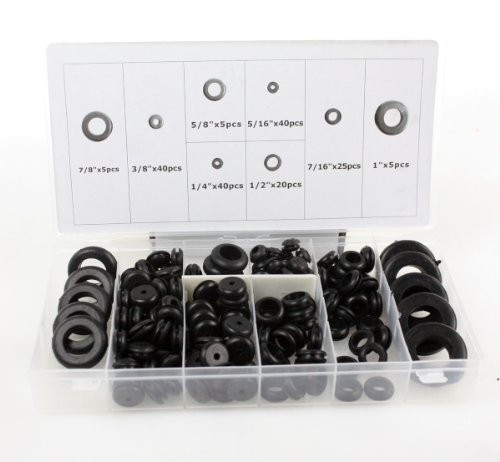 180 pc Rubber Grommet Assortment Set Firewall Wiring Electrical Wire Gasket Kit by I_S IMPORT