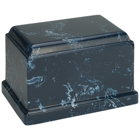 Navy Olympus Cultured Marble Urn for Human Ashes (Dark Blue with White Marbling), Adult / Extra Large. Suitable for Ground Burial or Home Memorial (Extra Large Marble)