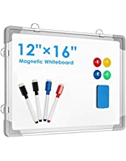 """Small Dry Erase White Board, ARCOBIS 12"""" x 16"""" Magnetic Hanging Double-Sided Whiteboard for Wall, Portable Mini Easel Board for Kids Drawing, Kitchen Grocery List, Cubicle Planning Memo Board"""