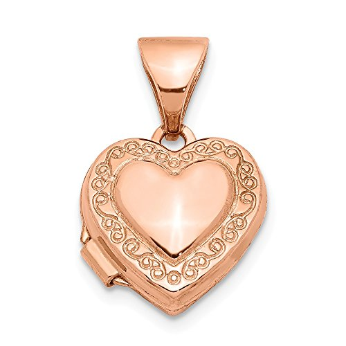 14k Rose Gold 10mm Heart Shaped Scrolled Photo Pendant Charm Locket Chain Necklace That Holds Pictures Fine Jewelry Gifts For Women For Her