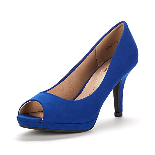 DREAM PAIRS Women's City_OT Royal Blue Fashion Stilettos Peep Toe Pumps Heels Shoes Size 7.5 B(M) US