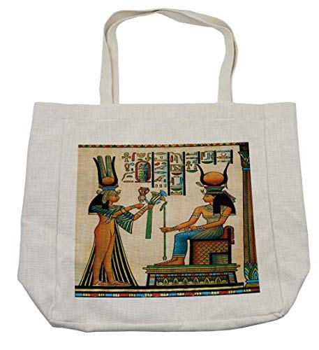 Ambesonne Egyptian Shopping Bag, Old Egyptian Papyrus Depicting Queen Nefertari with Historical Empire Artwork, Eco-Friendly Reusable Bag for Groceries Beach and More, 15.5