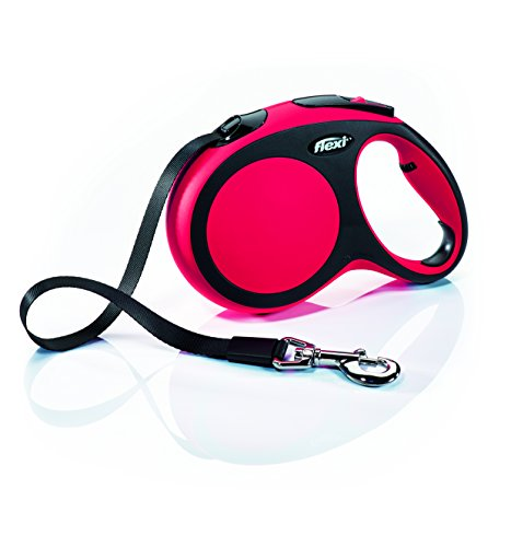 (Flexi New Comfort Retractable Dog Leash (Tape), 16 ft, Large, Red)