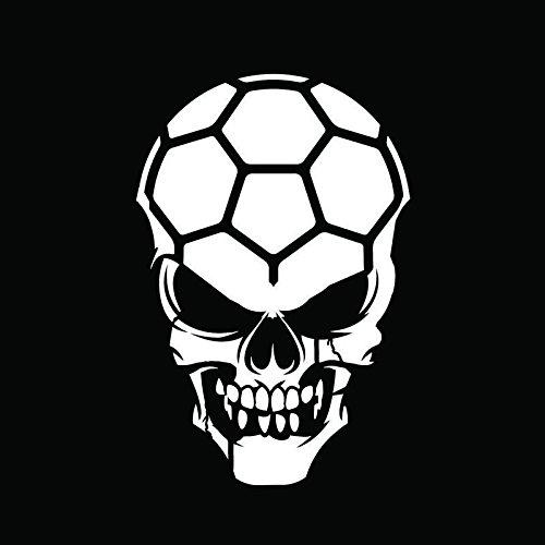 Soccer Skull Vinyl Decal Sticker | Cars Trucks Vans Walls Windows Laptops Cups | White | 5.5 X 3.6 | KCD1889 ()
