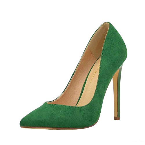 Women's Pointy Toe Curved Low-Cut Vamp High Heel Stiletto Pump Shoes (5.5, Green) ()