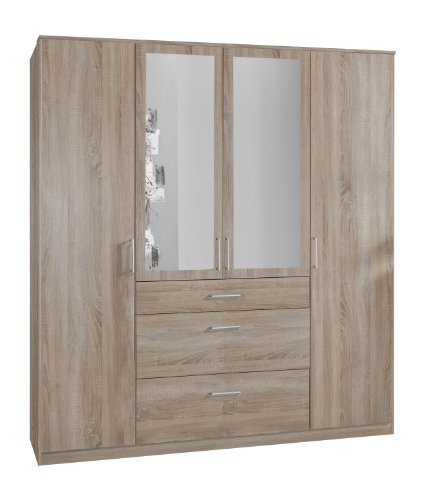 Wimex 140630 Kleiderschrank, 180 x 199 x 58 cm, 4-türig mit zwei breiten und einen schmalen Schubkasten, 2 Spiegel, Front und Korpus eiche sägerau Nachbildung