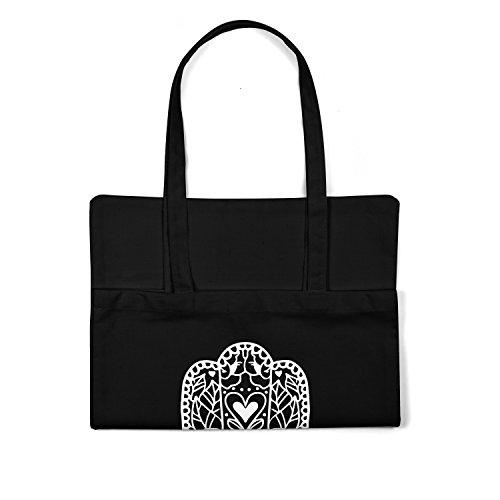 Print Cabas Tote Bag noir bag LaMAGLIERIA shopping 100 Hand coton Fatima White SwaxXRq