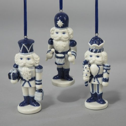 Kurt Adler Porcelain Delft Blue Nutcracker Ornament