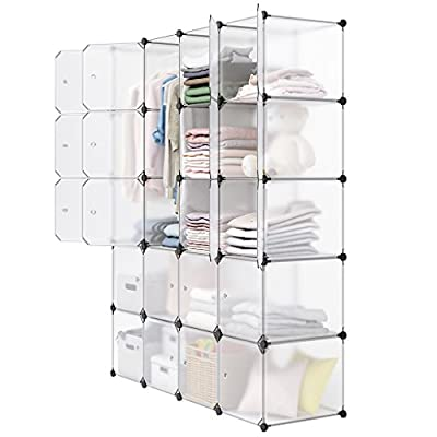 LANGRIA Closet Cube DIY Modular Cubby Shelving Storage Organizer Wardrobe with Clothes Rod, Furniture for Clothes by LANGRIA
