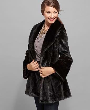 Jones New York Black Brown Faux Soft Fur Flared Silhouette