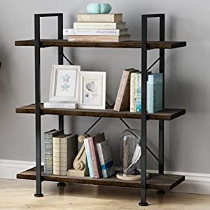 LANGRIA Industrial Bookshelf 3 Tier, Wood Metal Bookcase Black Book Shelf Iron Frame Espresso Antique Shelving Unit, Open Etagere Stand Storage Organizer Accent Furniture for Home Office