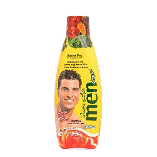 (NaturesPlus Source of Life Liquilicious Mens Liquid Multivitamin - 30 fl oz - Tropical Fruit Flavor - Whole Foods & Antioxidants - Healthy Muscles, Energy - Vegetarian, Gluten-Free - 30 Servings)